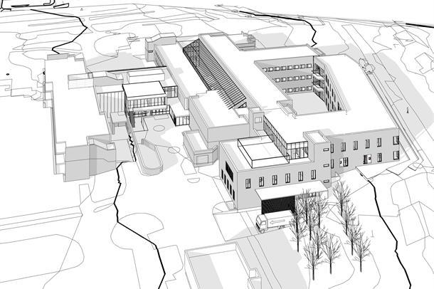 Arkitektskisse av nybygg i Alta