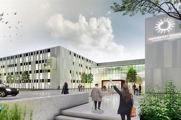 Illustrasjon av hovedinngagen til nye Hammerfest sykehus.