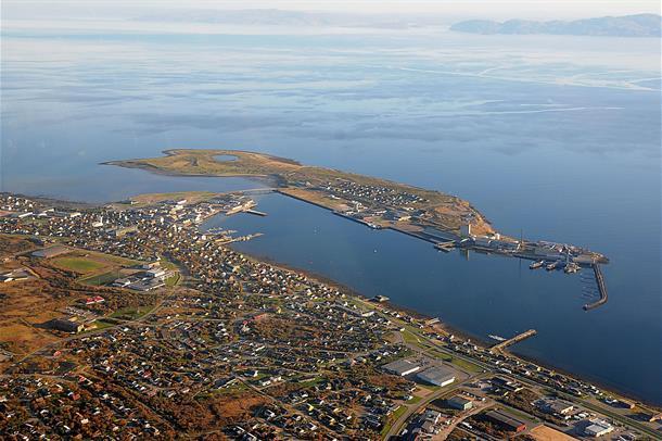 Flyfoto av Vadsø by.