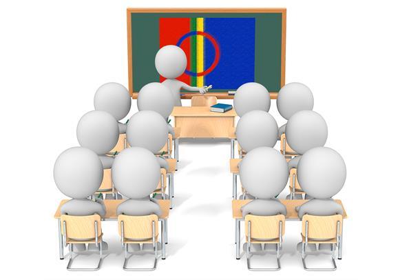Illustrasjon av undervisningssituasjon med samisk flagg på tavla